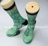 gedrucktes 3D trifft 360 Großhandelsdigital-Druck-Mann-Fußball-Socken-Sublimation-Basketball-Socken hart