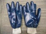 De Ddsafety 2017 do azul do nitrilo luva de trabalho do forro de Jersey do algodão do revestimento inteiramente