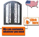 Puerta barata de la puerta del hierro labrado de la entrada del precio