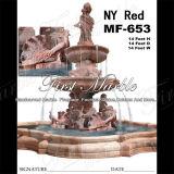 大理石の石造りの花こう岩の屋外のNyの赤い噴水Mf653