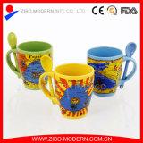 Atacado Caneca colorida de cerâmica com suporte de colher