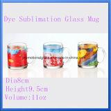 taza de cristal de la impresión de la sublimación del tinte 11oz, taza de cristal promocional