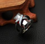 Red Zircon Stainless Jewellery Trend Couple Rings