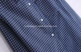 Camicia di cotone del `S delle donne del plaid del blu marino