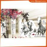 レストランの装飾のための連続した白馬の油絵