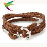 Stlb-17011008巻上げの手によって編まれる革コードのブレスレット多層調節可能な手ロープ