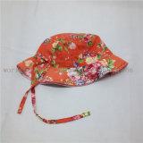 Chapéu flexível da cubeta de Sun da flor da impressão do coração do algodão para o bebé
