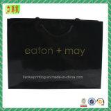 Bolsas de papel de arte preto com seu logotipo para embalagem