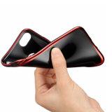 Electrochapar la caja del teléfono de TPU para el laser más del caso 6s 7 4D del iPhone 6 que talla el negro del espejismo que electrochapa las cajas suaves del teléfono (XSDD-087)