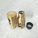 bouteille d'eau en aluminium de l'or 30ml avec le chapeau en plastique noir