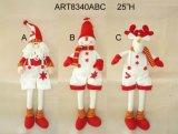 Decoração estando Giftcrafts do Natal do boneco de neve e dos alces de Santa