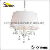 Weißer Trommel-Farbton-Kristallleuchter-hängende Lampe