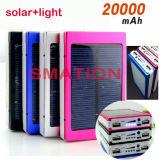 de Zonne Geladen Mobiele Bank van de Macht van de Batterij van de Telefoon van de Cel 8000mAh 10000mAh 20000mAh