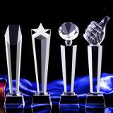 Trofeo barato claro del vidrio cristalino para el recuerdo