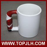 Taza especial de cerámica del blanco de la maneta de la sublimación del regalo