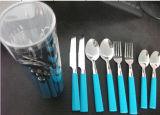Conjunto de talheres de aço inoxidável colorido 24PCS com alça de plástico