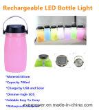 Tazza della bottiglia del silicone con la lampada solare del LED (CL-FD02)