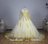 Vestido de casamento longo muçulmano nupcial A185 das luvas de Tulle do vestido de esfera do laço do ouro