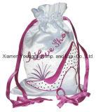 Bolso de seda blanco grande de encargo del conjunto del regalo del lazo de la tela del satén de la manera