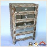 Gabinete Handmade do acento do armazenamento do espelho de madeira antigo na cor da madeira da tração