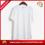 Großhandelsmann-100% Baumwollnormales unbelegtes weißes T-Shirt, waschbares T-Shirt