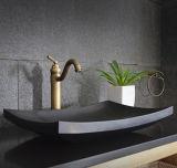 Lavabo de colada negro del cuarto de baño del granito de Shanxi