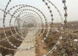 空港塀か空港の保安の塀またはかみそりの有刺鉄線