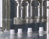 La máquina que atornilla automática del relleno y del casquillo para se levanta la bolsa con la boquilla