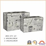 2개의 직물 여행 가방 저장 나무 상자 및 선물 상자의 가정 가구 세트