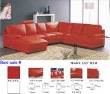 Grande sofà di cuoio d'angolo con il sofà sezionale di figura di U