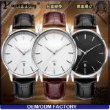 Hombres de acero del reloj de la fecha del cuero de la marca de fábrica del reloj de señoras de los hombres del cuarzo del acero inoxidable de los relojes de manera Yxl-450