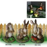 Escultura de conejo de artesanía de resina Decoración de día de pascua (jn04)