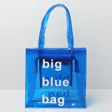 青いPVC大型の透過女性のハンドバッグ(A088)