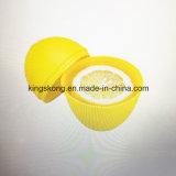 살아있는 것 같은 노란 플라스틱 레몬 모양 과일 신선한 상자