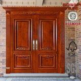 Puerta exterior tallada de madera antigua de la entrada delantera doble de teatro de variedades (GSP1-026)