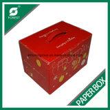 Caixa de papel ondulada da laminação lustrosa para as frutas que empacotam com punho plástico
