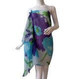 Polyester-Baumwolvoile-blauer gedruckter Schal für Frauen
