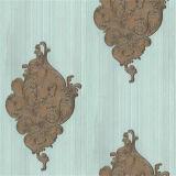 Papel pintado hermoso del papel de empapelar del damasco de la flor con el PVC impermeable
