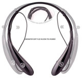 Tirilla de la camisa sin hilos del receptor de cabeza de Bluetooth con los auriculares retractables de Earbuds Bluetooth (negro)