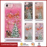 Caixa líquida do telefone móvel do Quicksand do Glitter do presente da decoração do Natal para o caso do iPhone 7