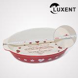 Поднос печи изготовления Китая керамический красный овальный с ушами