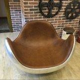 Moderner kreativer Sofa-Stuhl-Trommel-Stuhl-Schwingstuhl-industrieller lederner Aluminiumstuhl