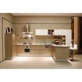 U字型木製の穀物および白いラッカーモジュラー食器棚