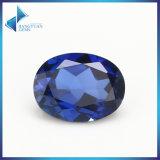 AAA Quanlityの楕円形の切口34#の青く総合的なルビー色の石造りの鋼玉石の宝石用原石