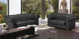 A tecla preta moderna européia do sofá do couro 1+2+3 adornou (HC6040)