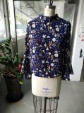 Dame-feenhafte lange Hülse gedruckte Blusen-Kleidung