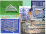 Cage de palette de maille de fil d'acier pour la mémoire d'entrepôt avec des roues
