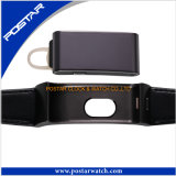 Pure Color Genuine Lether Band Smart Watch Cliente Logotipo impresso Relógio de pulso