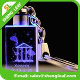 Восхитительный 3D лазер кристаллический Keychain с стеклом (SLF-OK007)