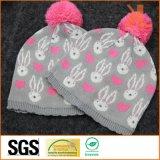 Шлем Acrylic 100% связанный Jacquared с Pompom для младенцев